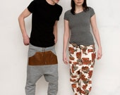 Low crotch, pants, harem, jogging pants, pleather, draw string, native, feathers, by Britton on Etsy
