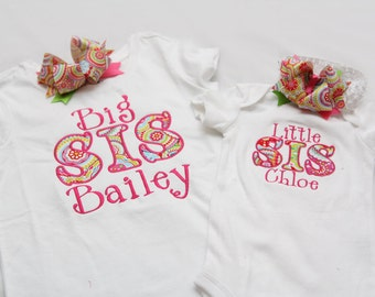 Big Sister Shirt and Little Sister Shirt with Matching Hairbows- You CHOOSE size and COLOR