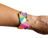 Womens Leather Bracelet, Neon Bracelet, Geometric Bracelet, Cuff Bracelet, Unique Bracelet, Modern Bracelet, Womens Cuff, Leather Jewelry