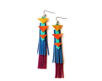 Chevron Triangle Earrings, Blue Yellow and Orange Geometric Earrings, Leather Fringe Leather Jewelry