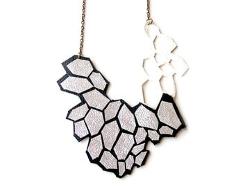 Metallic Silver Statement Necklace, Geometric Necklace, Leather Modern Hexagon Bib Necklace, Faceted Cells, Black Silver Geometric Jewelry