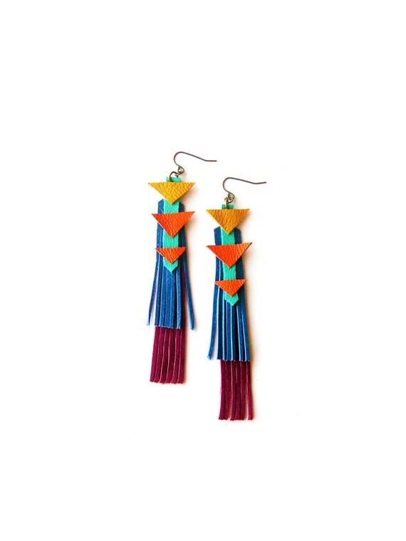 Chevron Triangle Earrings, Blue Yellow and Orange Geometric Earrings, Leather Fringe Leather Jewelry