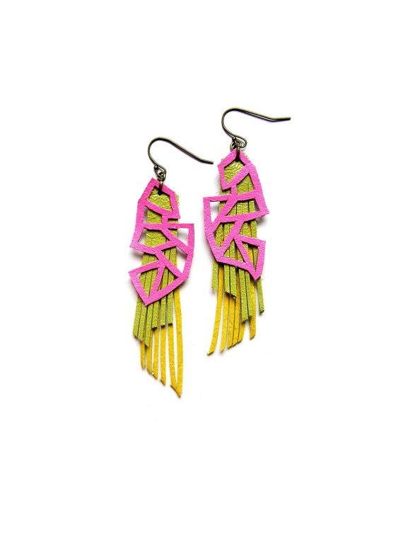 Neon Geometric Earrings, Fringe Dangle Earrings, Triangle Earrings, Leather Fringe Earrings in Pink Green and Yellow