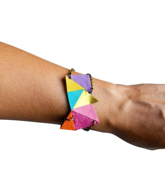 Leather Bracelet, Neon Geometric Bracelet, Cuff Bracelet, Triangle Color Block, Modern Bracelet