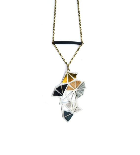 Geometric Leather Necklace Metallic Triangle Mini Kaleidoscope