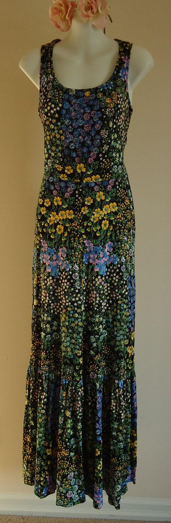 Reserved ...Vintage 1980s Black Summer Floral Dress