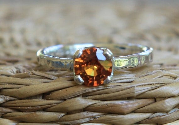 Hand Forged 1.0ct Orange Sapphire Solitaire Ring SZ 5.5 .935 Argentium Sterling Silver