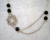 Scroll Necklace with Black Beads
