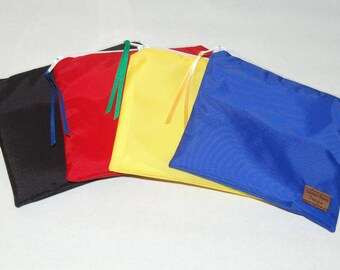 Snack Size Reusable Bag - Set of 4 - Royal Blue, Yellow, Red and Black Nylon