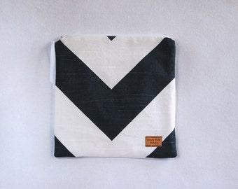 Sandwich Size Reusable Bag - Charcoal and White Chevron Stripe - Ready to Ship