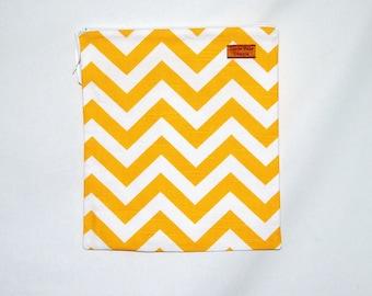 Gallon Size Reusable Bag - Yellow and White Chevron Stripe - Zippered Bag