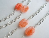 Peach Orange Leaf Necklace - Silver Wire Wrapped Necklace - Long Necklace - Gifts under 30