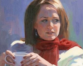 coffee girl original oil painting 14x18 - The Sidelong Glance