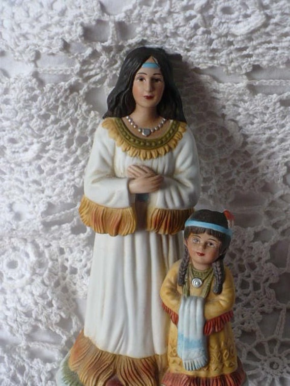 Vintage Native American Indian Mother And Child Porcelain