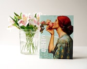 Handmade Greeting Card - Art Nouveau, OOAK, collage, teal, turquoise, floral, summer, birthday card, any occasion card