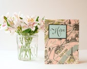 Handmade Card -  Thank You Card  -  Merci, Vintage Style Paris Map, French, Eiffel Tower
