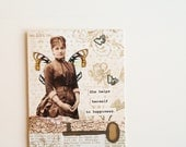 Handmade Card - She helps herself to happiness- brown, butterfly, wings, OOAK, collage, skeleton key, french, map