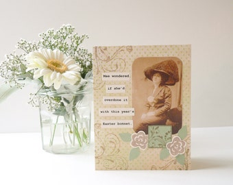 An Easter Bonnet Gone Awry  - Handmade Easter Card - sepia green brown