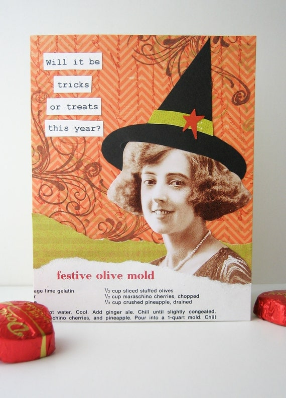 Halloween Card - Tricks or treats this year - handmade collage -- orange, olive green, black - fun, witch hat - Nouveau Nancy - newnanc