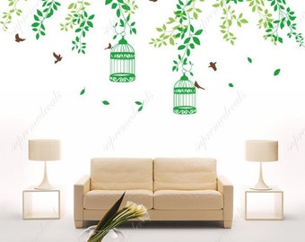 Beautiful Vines with flying birds(type B) - Removable Wall Decals, Stickers, Murals for Home Decor