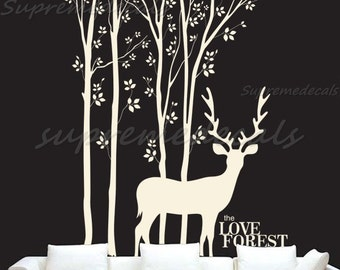 Tree Forest Decal Trees Wall Sticker Deer Decal - Love Forest and Deer -Removable Vinyl Wall Decals for Home and Office Room Wall Decors