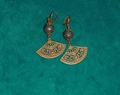 Antique Bronze Fans w/Lava Beads