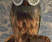 Hand Carved and Painted Folk Art Owl on a Log Cute Little Guy