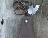 Leather neck pouch , Buckskin medicine bag ,  Leather medicine bag