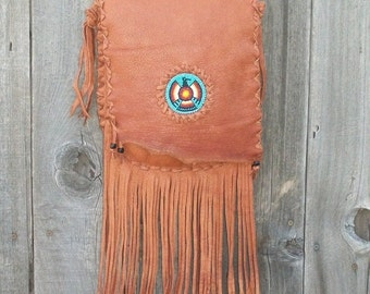 Southwestern style handbag , Beaded leather purse , Beaded thunderbird crossbody bag , Buckskin leather shoulder bag