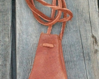 Leather neclace bag , Leather neck pouch , Medicine pouch