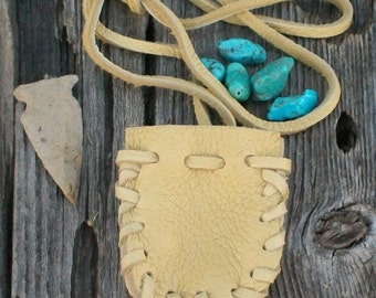 Buckskin medicine bag , Leather neck pouch , Crystal neck bag , Amulet bag