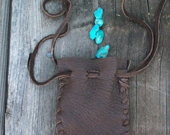Leather drawstring bag ,  Handmade leather pouch ,    Buckskin fetish bag , Medicine bag