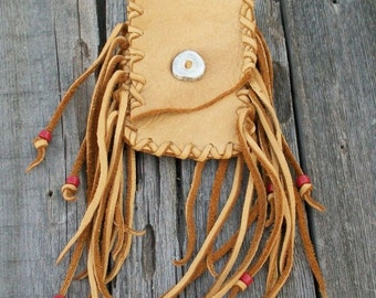 Fringed hip bag ,     Leather hip bag ,   Leather belt bag , Medicine bag , Hip bag