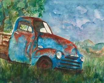 Old Blue Chevy vintage watercolor painting Pickup Truck - Watercolour Giclee Print 11x14  forgotten sitting country
