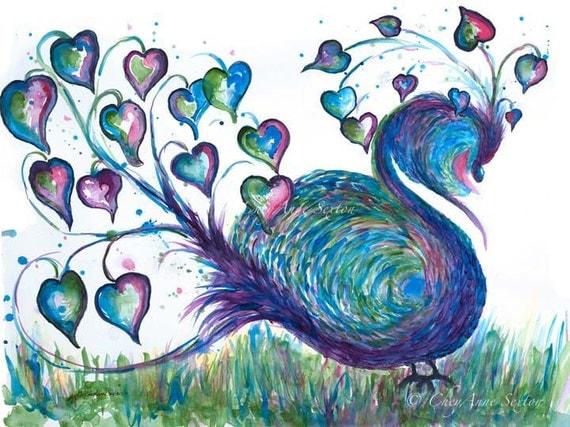 Peacock Teal Fantasy Watercolor Bird Giclee Print  11x15