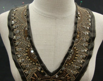 Neckline Applique Embellishment Necklace Brown Satin Fabric Silver Tone Metallic Thread Silver Sequins Square Beads