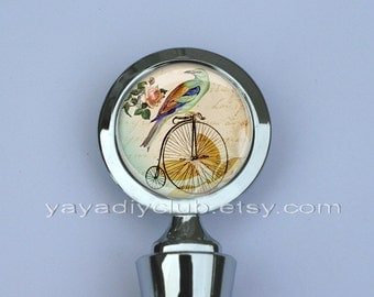 Christmas gift ideas for mom, grandma gift - Custom Wine Stopper - Vintage Penny Farthing Bike Old Bicycle with Shabby Chic Bird Flower