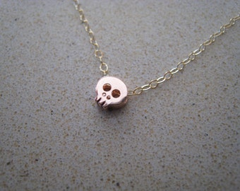 ROSE GOLD Skull charm necklace on delicate sparkly chain