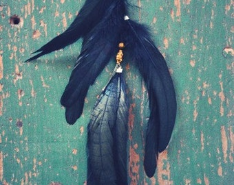 Bohemian Nights Long Iridescent Black Feather Hair Extension
