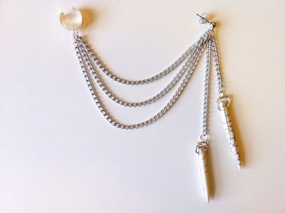 White Howlite Spear Chain Ear Cuff