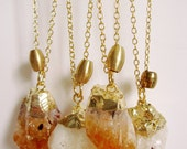 raw citrine crystal honey orange color gemstone gold dipped boho style necklace
