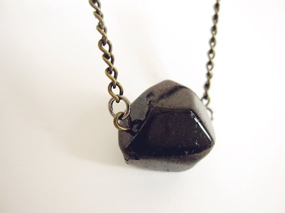 Smooth faceted red garnet January birthstone natural crystal small meteor necklace