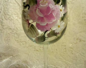 Hand painted wine glasses, roses wine glasses, choose quantity PRICE INCLUDES SHIPPING! with or without wine glass caddy