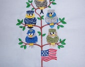 USA Military Troops as Birds in a Tree Tweet Embroidered Quilt Block Square or White Towel
