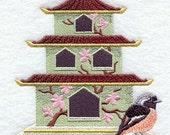 Japanese Birdhouse & Daurian Redstart Embroidered Quilt Block