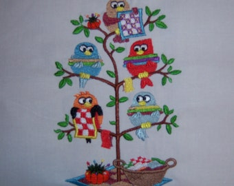 Quilting Birds in a Tree (Tweet) Embroidered Quilt Block Square or White Towel