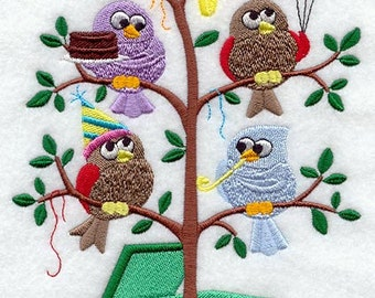 Happy Birthday Birds in a Tree (Tweet) Embroidered Quilt Block Square or White Hand Towel