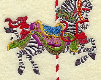 Christmas Carousel Zebra Embroidered on WHITE Cotton Towel or Quilt Block Square