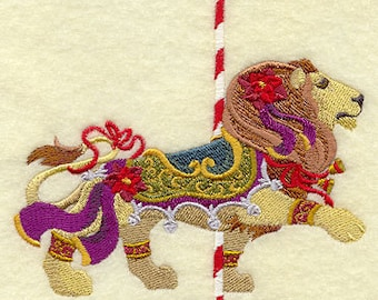Christmas Carousel Lion Embroidered on WHITE Cotton Towel or Quilt Block Square