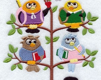 Back to School Birds in a Tree Embroidered Quilt Block Square or White Towel